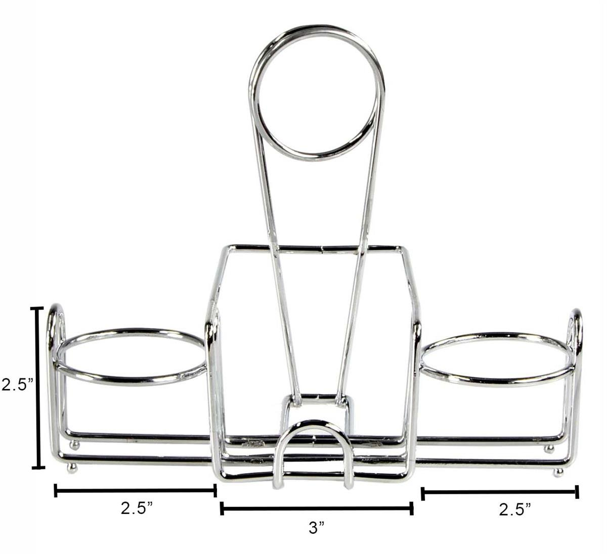 Condiment Stands with Menu Holder, 2 Round Side Compartments and Center Storage Area for Sweeteners, Steel (Chrome-Colored) - Set of 10 by Displays2go (Image #3)