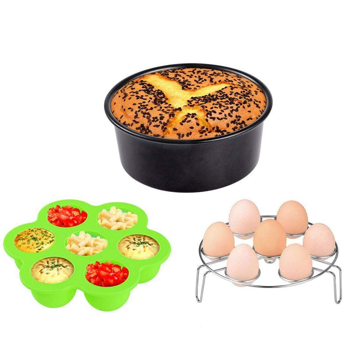 Instant Pot Accessories 3pcs, KINDEN, Silicone Egg Bites Mold with lid+Egg Steamer Rack+ 7 Inch Round Removable Bottom Non-Stick Cake Pan for 5 6 8 Quart Pressure Cooker KD-K10-CA