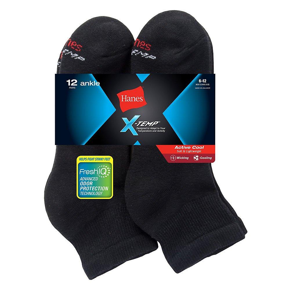 Hanes Ankle Socks (AC1612) Black, 6-12 (Pack of 2) by Hanes
