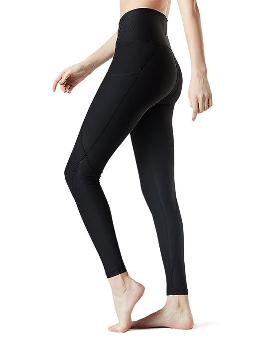 TSLA Yoga Pants High-Waist Tummy Control w Side/Hidden Pocket Series, Pocket Thickcontour(fyp54) - Black, Small (Size 6-8_Hip37-39 Inch) best yoga leggings