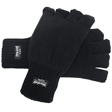 Adult Unisex Thinsulate Fingerless Gloves Thermal Winter Warm