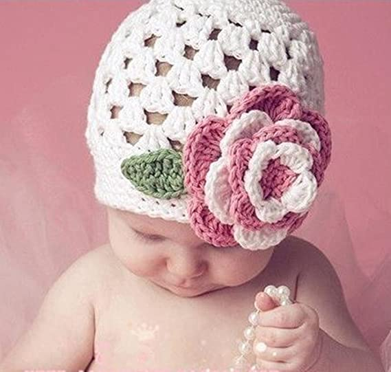 ee48c02f24e Amazon.com  Baby Girl Knit Hat Winter Handmade Flower Prop Beanie ...