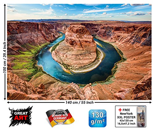 GREAT ART Horseshoe Bend Wall Decoration - Grand Canyon Design King Bend Poster Colorado River Page Arizona (82.7 Inch x 55 Inch)