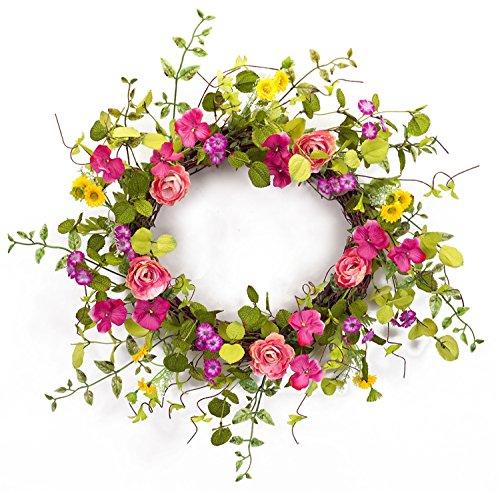 Melrose International Pansy, Ranunculus with Daisy Wreath...