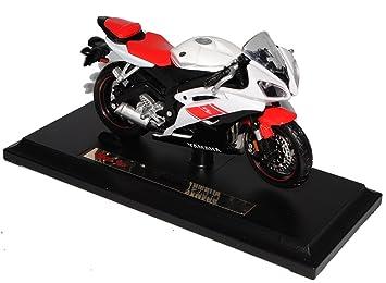 Yamaha Yzf R6 Weiss Rot Mit Sockel 1 18 Maisto Modellmotorrad Modell Motorrad By