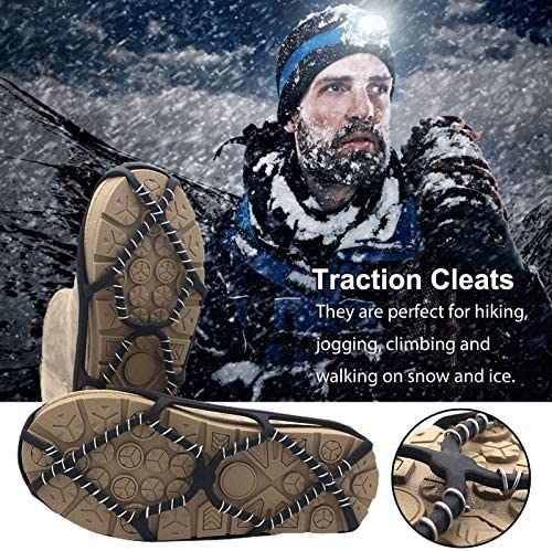 Ice Cleats, Anti Slip Shoe Traction Cleats, Women Men Abrasion Resistance Ice Cleats Walk Crampons Cleats For Boots, For Snow, Walking Hiking,jogging, Climbing And Walk The Dog
