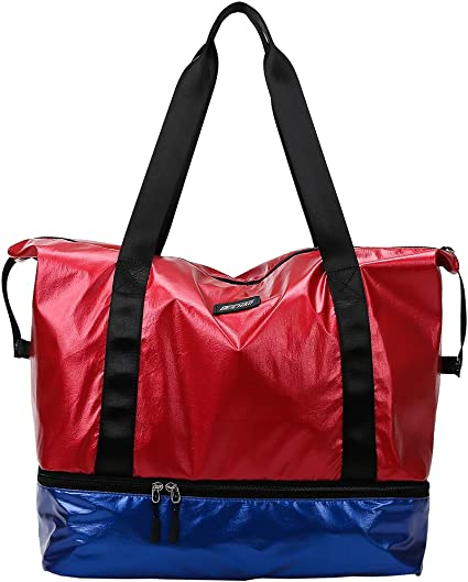 Large Travel Tote Bag with Bottom Shoes Compartment Rose Gold Ideal Gym Duffle Bag for Women and Men fancyfree Double Layers Bag