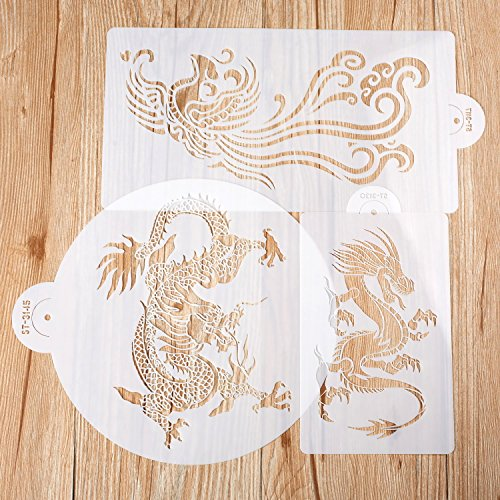 Laser Cut Painting Stencils Set- Floor Wall Tile Fabric Wood Cake Decorating Stencils-Dragon and Phoenix Designs (3pcs) by ZOMCHAIN