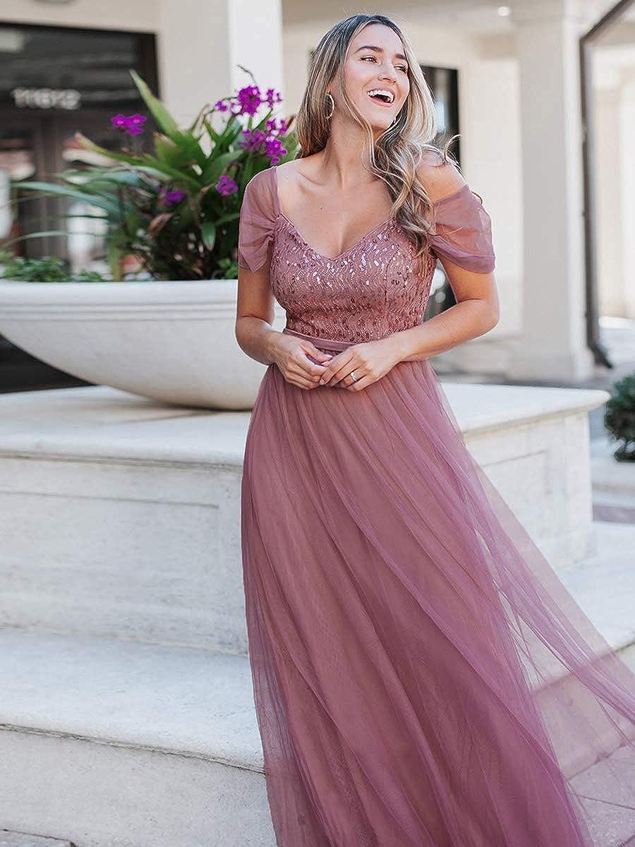 Ever-Pretty Vestido de Dama de Honor Fiesta Largo para Mujer Hombros Ca/ídos Tul A-l/ínea Escote V Imperio 00766