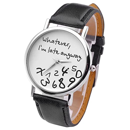 """JSDDE Reloj Unisex Estilo Original """"Whatever, Im late anyway"""" Hombre"""