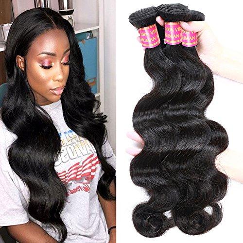 - Allove Hair Grade 8a Brazilian Virgin Hair Body Wave 300g 3bundles Brazilian Human Hair Bundles(14 16 18inch) Unprocessed Virgin Human Hair Weave Weft Natural Color (100+/-5g)/Pc