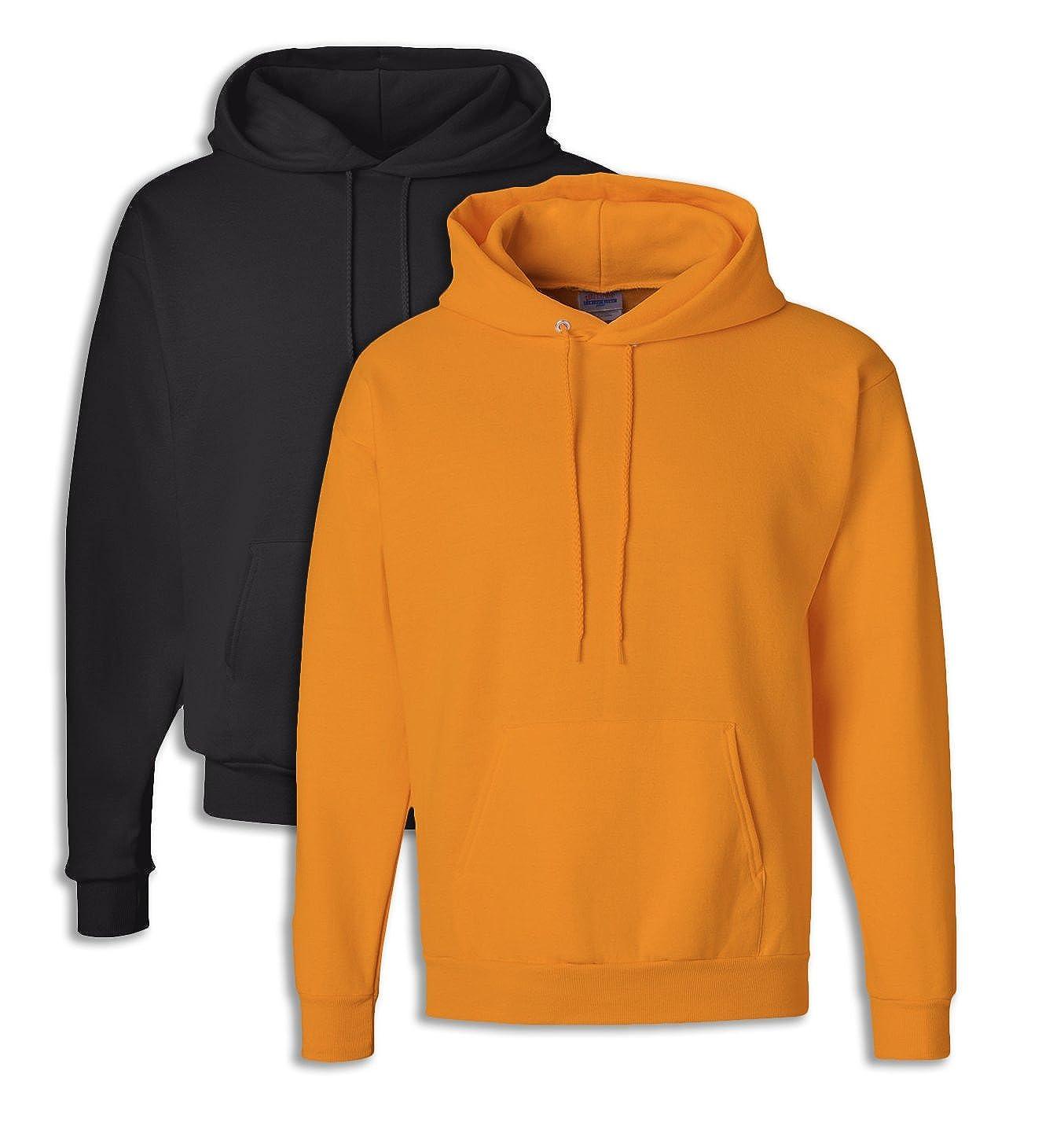 1 Safety Orange Hanes P170 Mens EcoSmart Hooded Sweatshirt XL 1 Black