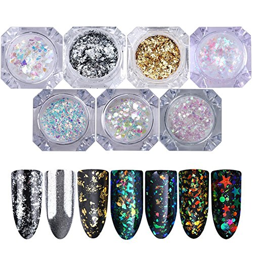 NICOLE DIARY 7 Boxes Nail Glitter Flakes Holo Chameleon Colorful Confetti Nail Sequins Nail Art Paillette Decoration kit
