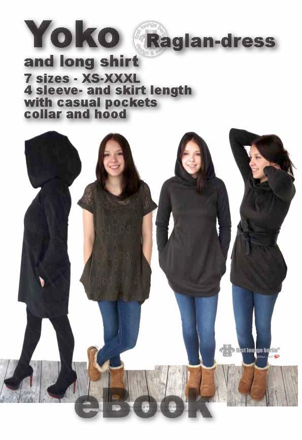 Yoko jersey raglan dress in 7 sizes XS-XXXL [Download]