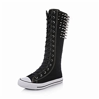 4e1702f43f32 Canvas Sneakers Women Girls Flat Tall Punk Womens Skate Shoes Lace up Knee  High Boots (