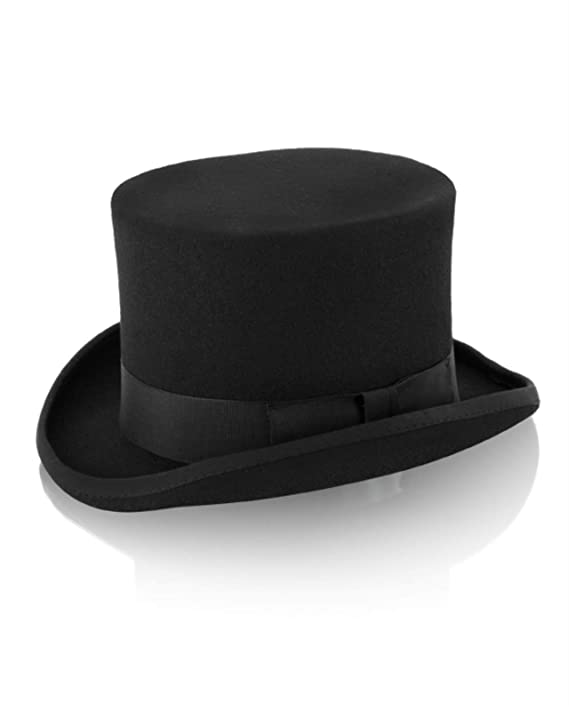 Victorian Men's Formal Wear, Wedding Tuxedo Soft Black Wool Felt Top Hat by Christys London $79.95 AT vintagedancer.com