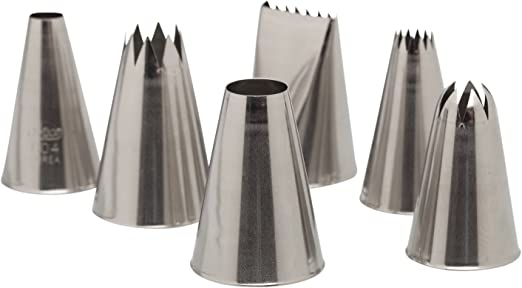 Ateco 787 - 6 Piece Decorating Tube Set, Includes Stainless Steel Tips:  804, 808, 827, 864, 846, 898