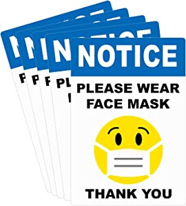 """""""Please WEAR FACE MASK"""" Sign, Face Mask Required Sticker, 5 Pcs Window Door Adhesive Vinyl"""