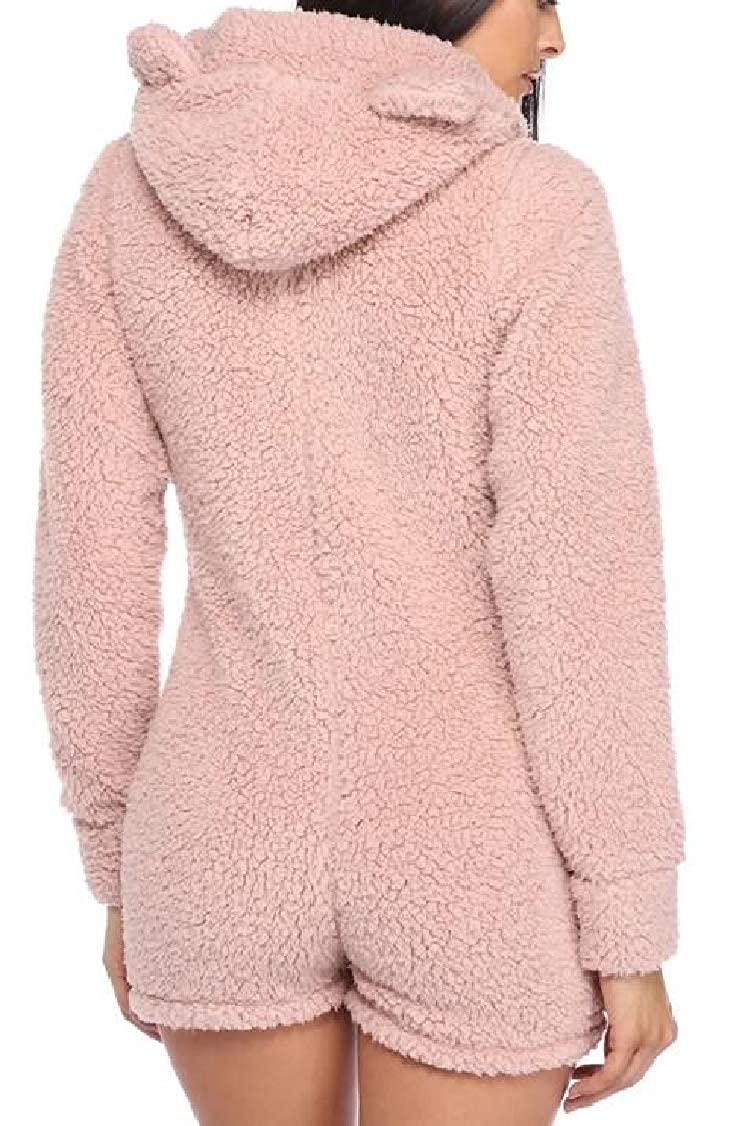 XQS Womens Fluffy Fleece Hooded Jumpsuit Shorts One Piece Pajama
