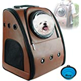PETRIP Dog Backpack Carrier Cat Backpack for Large Cats 22 lbs Pet Carrier Backpack for Medium Dogs Cat Carrier Backpacks Bubble for Hiking Airline Approved Pet Backpack Carrier Pet Knapsack (Coffee)