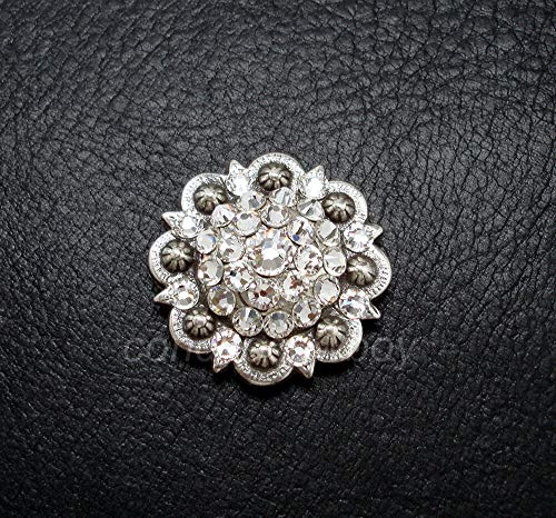 JumpingLight Western Horse Saddle TACK Rhinestone Crystal Berry Concho 1 inch Screw Back Perfect for Crafts, Scrap-Booking, Jewelry, Projects, Quilts (Nocona Crystals Conchos)