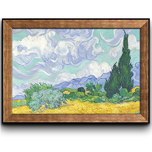 A Wheatfield with Cypresses by Vincent Van Gogh Oil Painting Impressionist Artist Framed Art