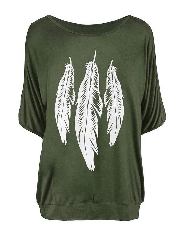 YIPINEU Femme Tee Top Grande Taille Manche Courte T-Shirt Collier V Manches Chauve-Souris D/écontract/ée Tee