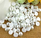 144pcs 10mm Half Round ABS Beads Pearls Rhinestone (White)