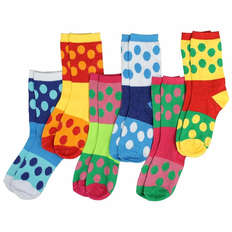 Luxury Divas Polka Dot Block Pattern Multicolor Assorted 6 Pack Crew Socks