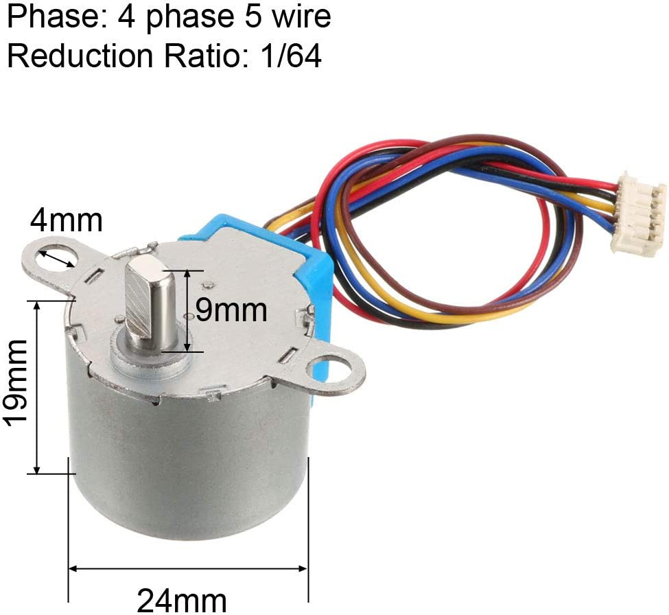 24BYJ48 DC 5V Reduction Stepper Motor 4-Phase 5-Wire 1//64 Reduction Ratio
