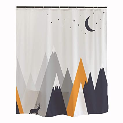 Elk Kids Shower Curtain Deer Roaming Below Mountain Colorful With Hooks Waterproof Fabric