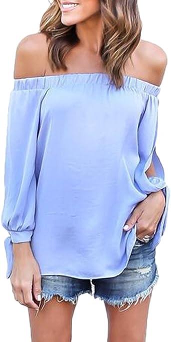 Damas Blusa Camiseta Cuello Barco Mangas Largas Blusa Sin ...
