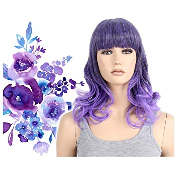 Pastel Purple Ombre Wig Two Tone Halloween Costume for Women Cosplay Party  Ultra Violet Mid Length 53bc76846