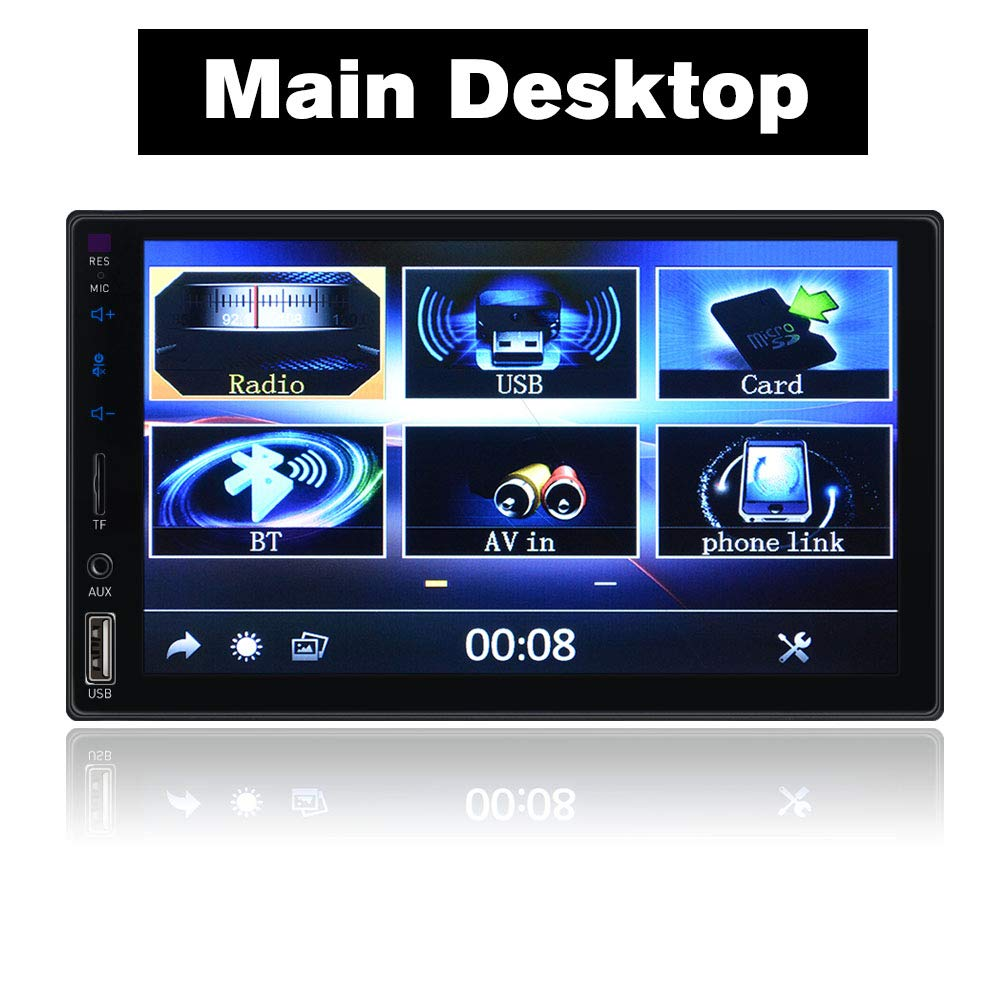 Double Din Full Touch Screen Bluetooth Car Stereo with Mirrorlink AUX//TF//Dual USB//FM Car Radio Video Car MP5 Player with Rear View Camera Wireless Remote Control SPEEDTON K802