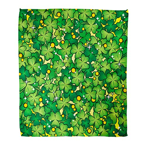 Emvency Throw Blanket Warm Cozy Print Flannel Green Day Clover Glade Leprechaun Saint Irish Comfortable Soft for Bed Sofa and Couch 60x80 Inches ()