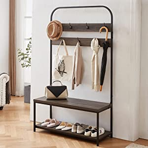 IBF Coat Rack with Shoe Bench, 3-in-1 Hall Tree with Storage Bench for Entryway, Industrial Metal and Wood Coat Tree with Shelf and Hanging Hook, Grey Oak, 70 Inch
