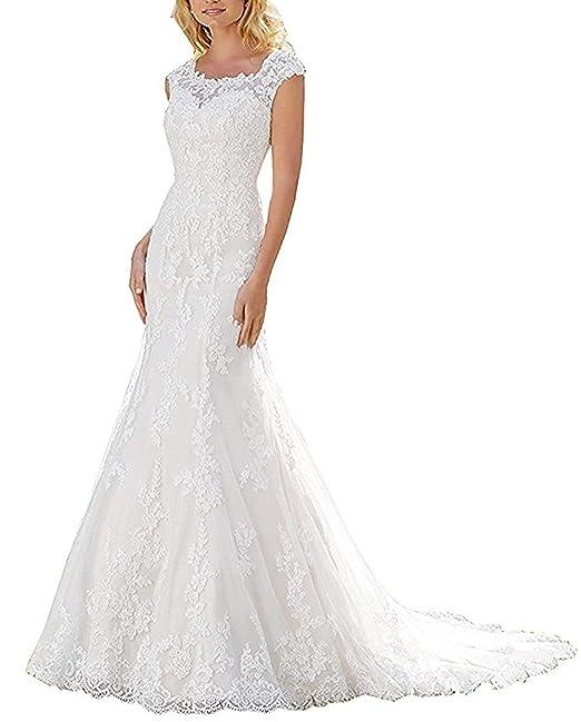 JAEDEN Vestido de Boda Sirena Largo Mujer Vestido de Novia Vestido de Noche Encaje Blanco EUR32