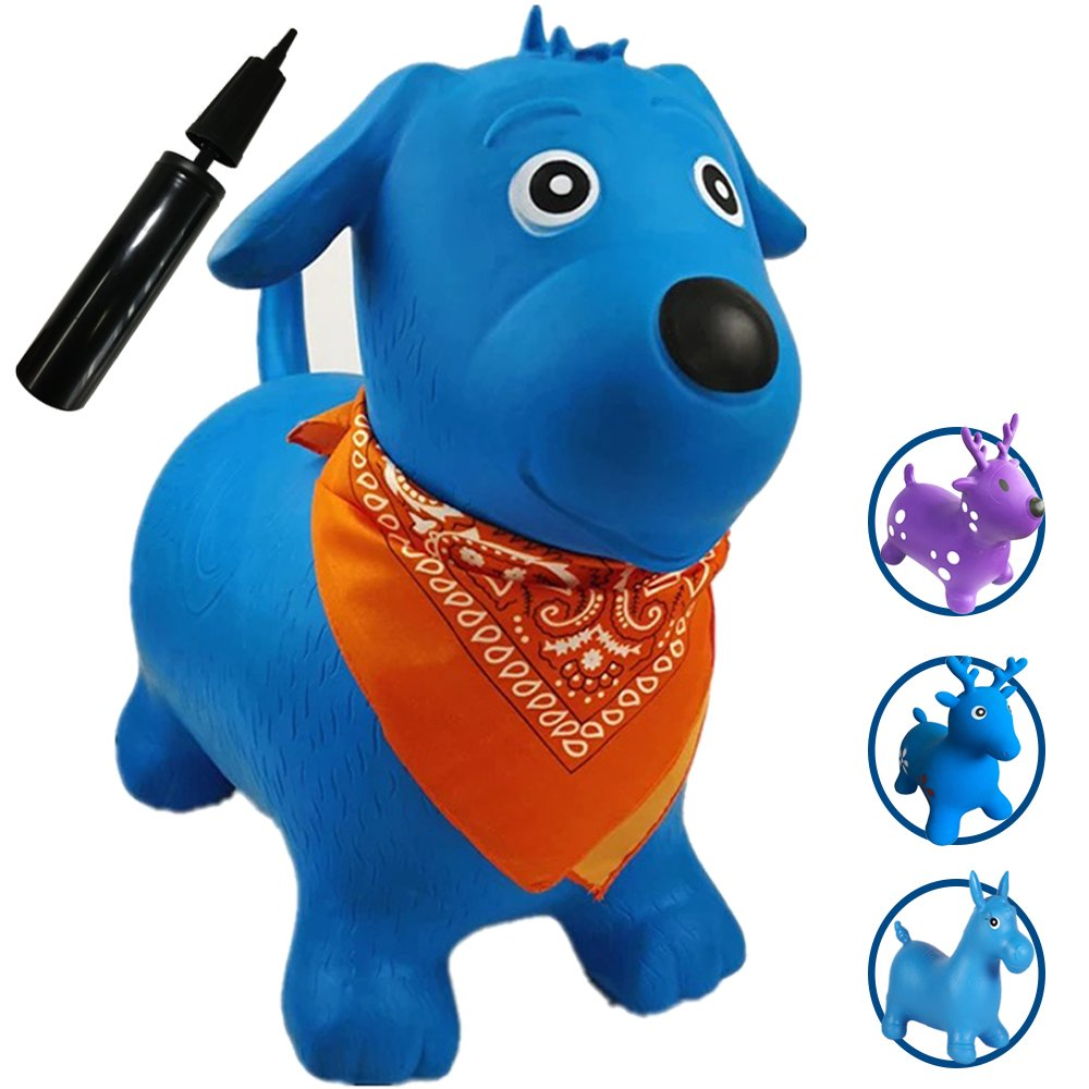 Runyuan Inflatable Jumping Dog for Kids Birthday Party-Ride-on Bouncy Animal Including Pump Space Hopper Toy-Gift for Children