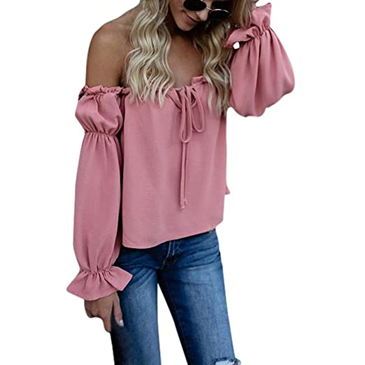 2baa9ec082208 Women Off Shoulder Puff Sleeve Shirt Long Sleeve Sexy Tie Top Blouse  Clearance at Amazon Women s Clothing store