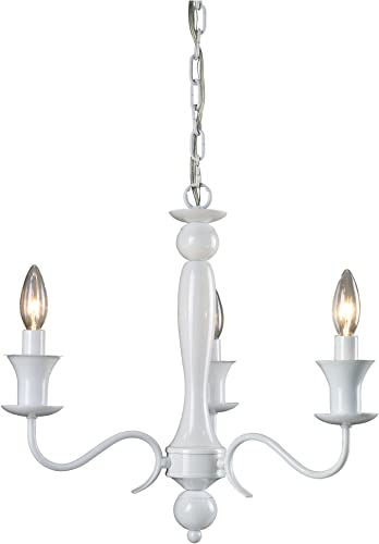 Sterling 123-002 3 Light Metal Chandelier, 18 by 17-Inch, Gloss White