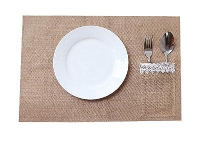 amajoy 6 piezas Mesa de Arpillera manteles individuales con cubiertos bolsillo para mesa de comedor de