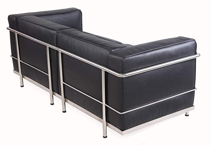 MLF Modern Style Grande Loveseat Sofa(Multi Colors, Black Premium Aniline Leather