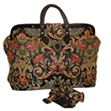 ArtisanStreet's Red and Black Tulip Medallion Tapestry Carpet Bag with Matching Shoulder Strap. Limited Edition. Use as Overnight Bag or Even as a Briefcase, Bags Central