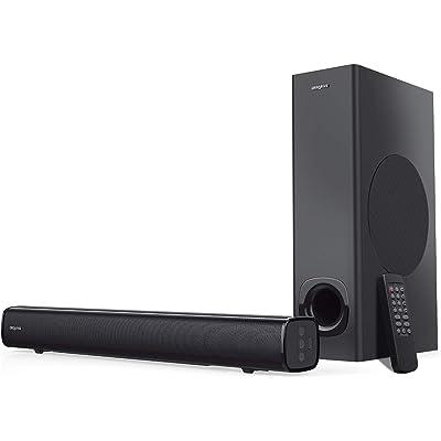 Creative Stage 2.1 - Barra de Sonido con subwoofer para TV, Ordenador y Pantallas ultrapanorámicas, Bluetooth, Entrada óptica, Entrada ARC y AUX, Mando a Distancia y Kit de Montaje en Pared