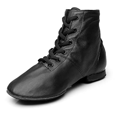 MSMAX Women Lace up Jazz Boots Split Sole Black Dance Sneakers | Ballet & Dance