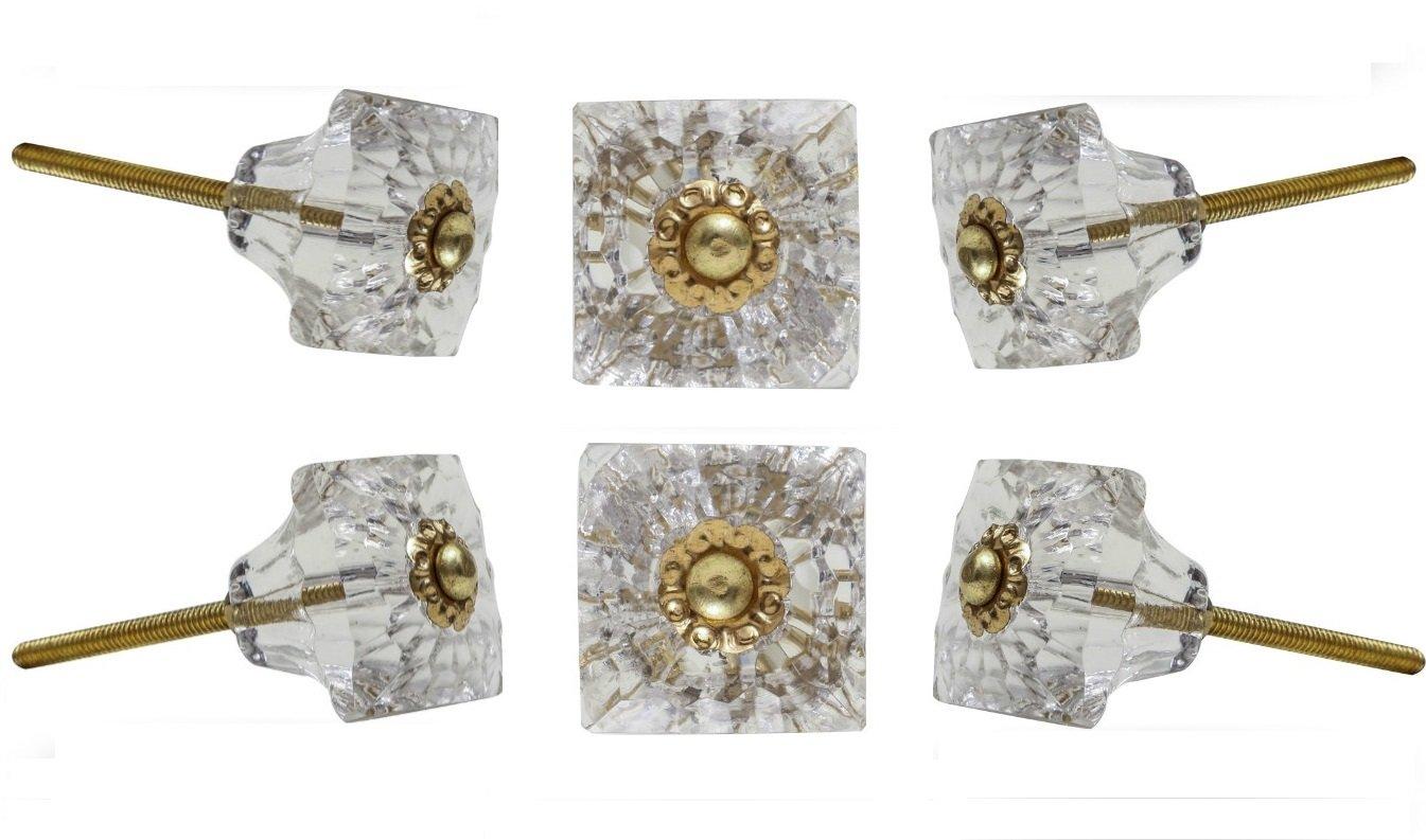 verde 6 unidades Trinca-Ferro Juego de 6 pomos de cristal para cajones de armario vidrio