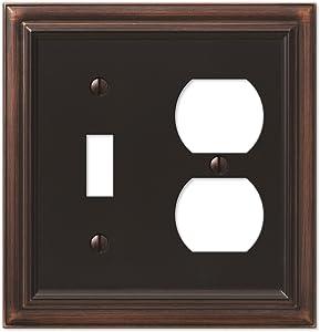 AMERELLE 94TDVB Continental Single Toggle/Single Duplex Cast Metal Wallplate in Aged Bronze
