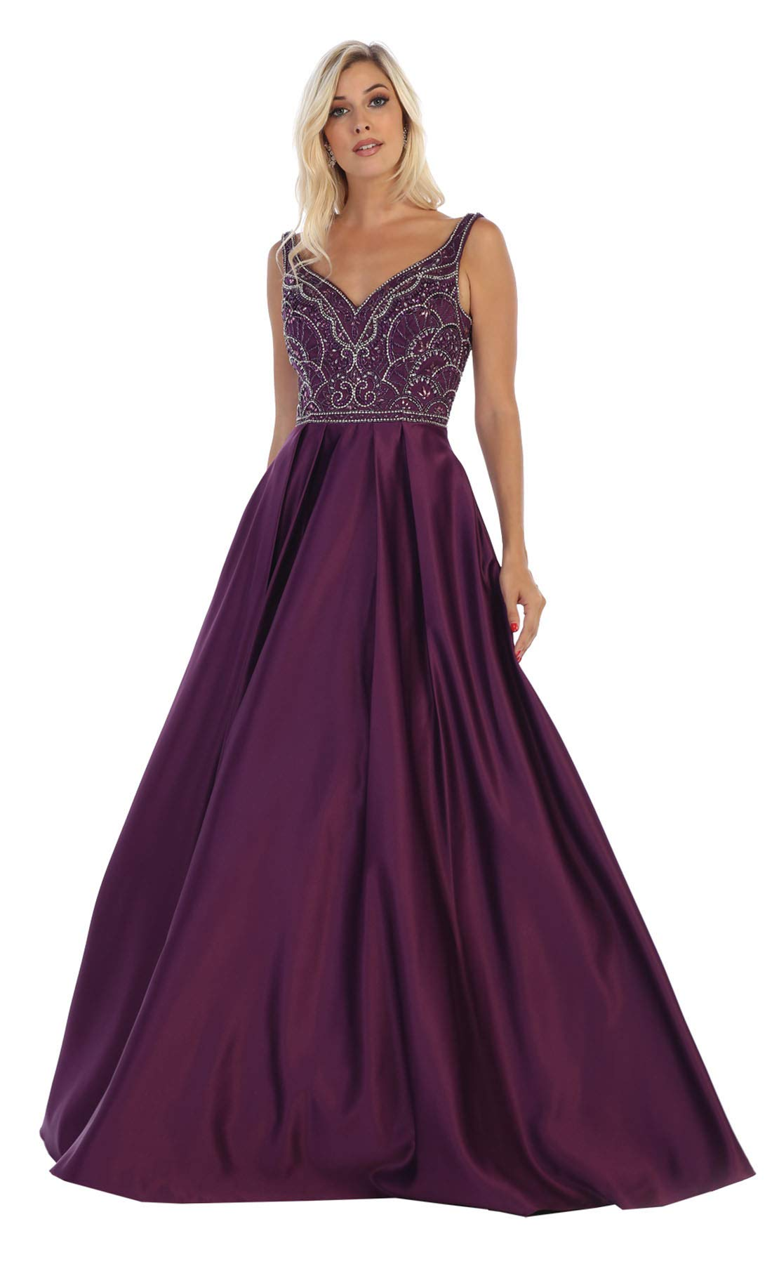 Formal Dress Shops Inc Fds1632 Beauty Pageant Elegant Formal Gown Eggplant 12