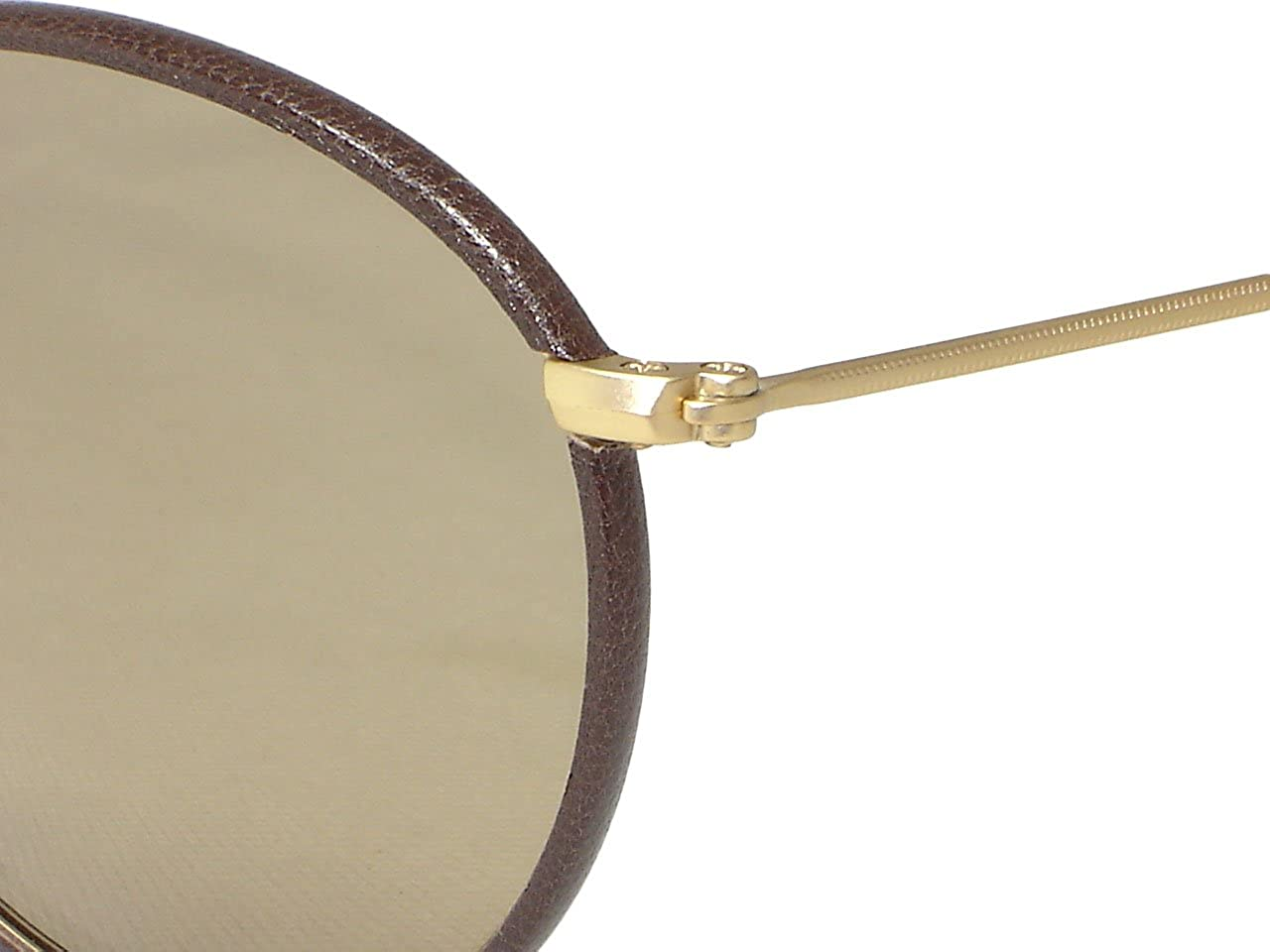 e05857aa6c Amazon.com  Ray Ban RB3475Q Leather Round 112 53 Matte Gold Brown   Light  Brown Sunglasses 50mm  Clothing