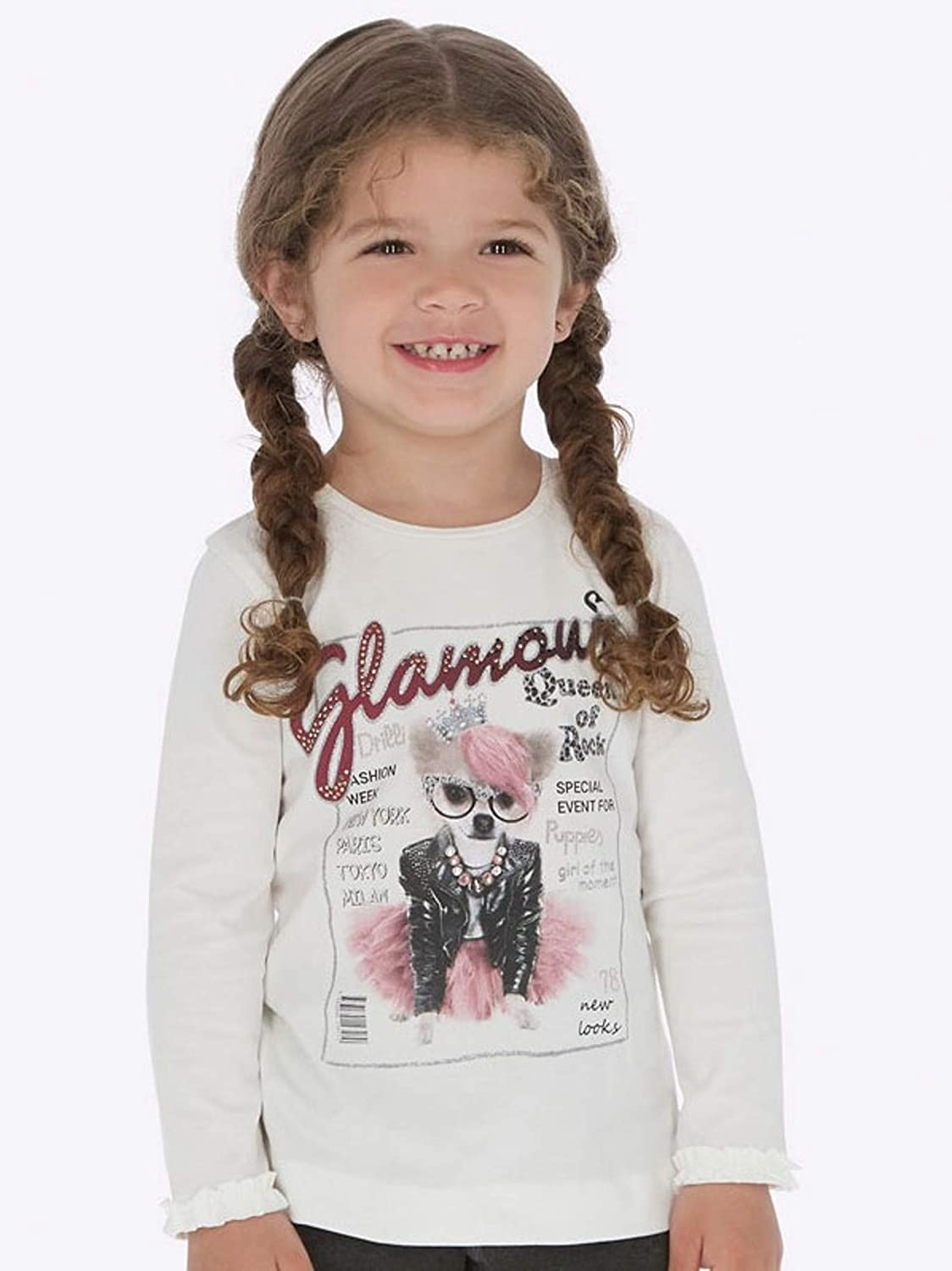 L//s Ruffled t-Shirt for Girls 4009 Mayoral Crystal